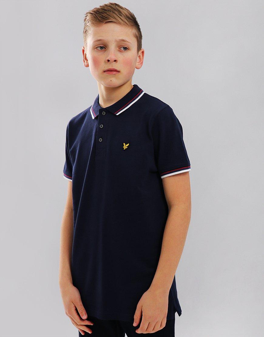 Lyle & Scott Junior Tipped Polo Shirt  Navy