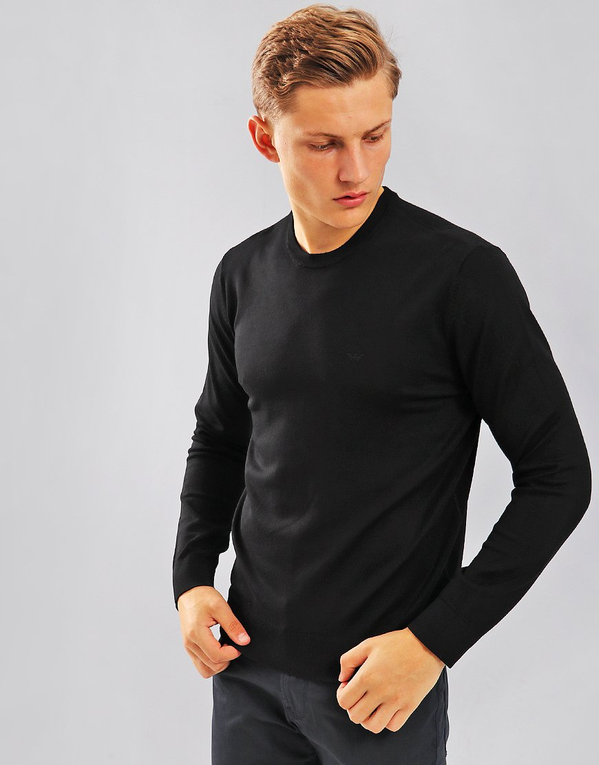 Emporio Armani Cotton Crew Knit  Black
