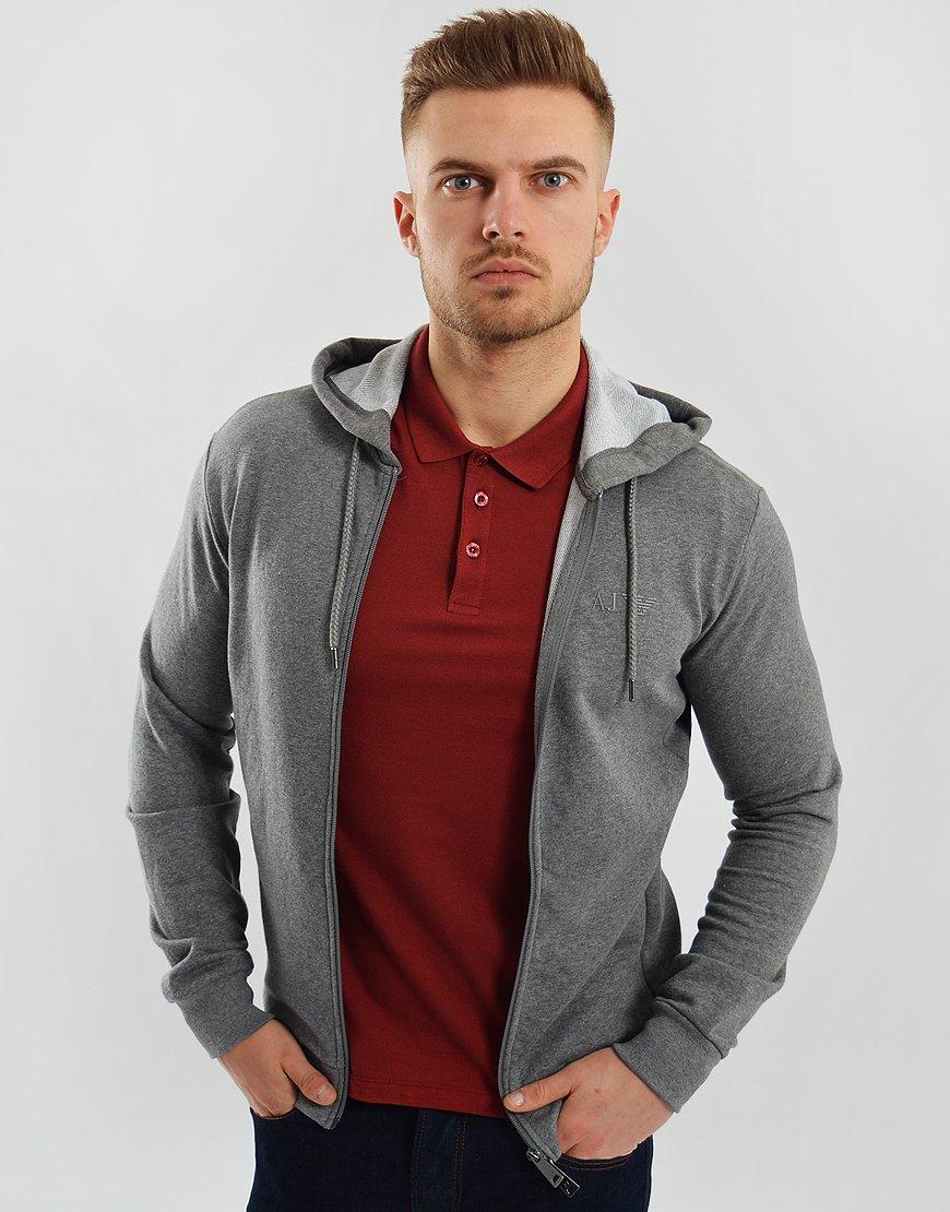 Armani Jeans Full Zip Hoodie Grey Melange