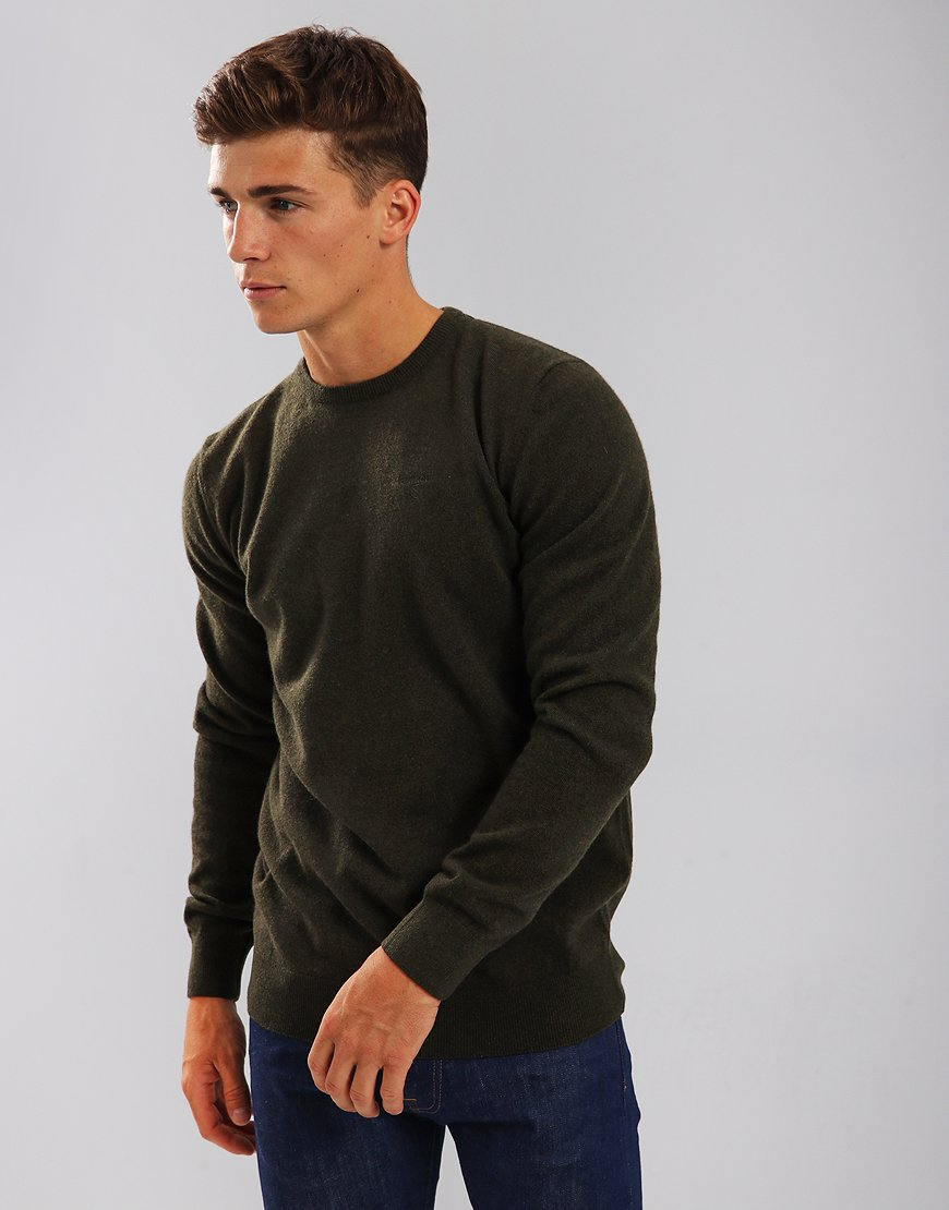 Barbour Essential Lambswool Crew Neck Knit Seaweed