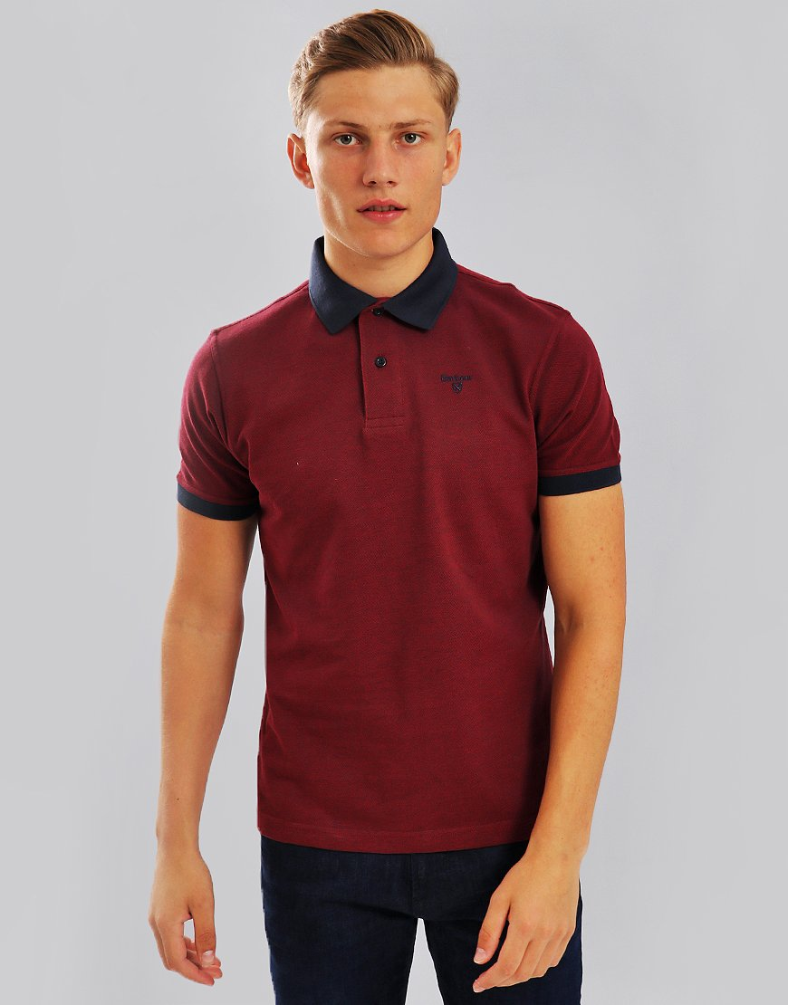 Barbour Sports Mix Polo Shirt Dark Red