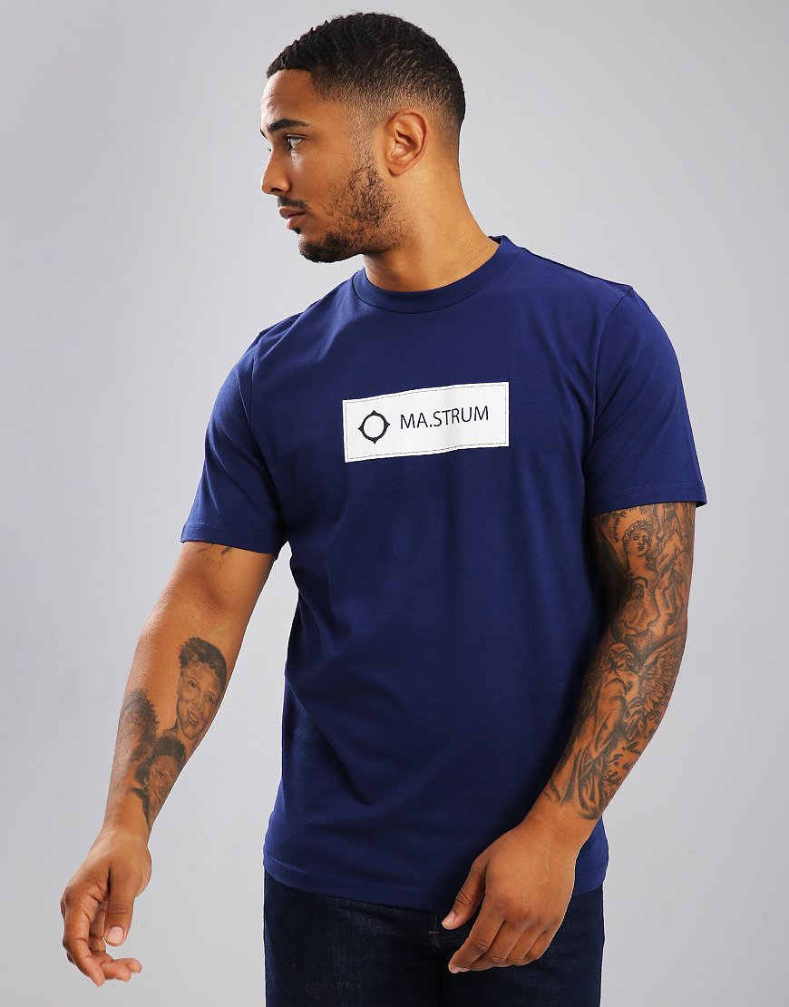 MA.Strum Icon Box Print Logo T-Shirt Indigo