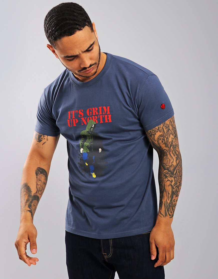 Eighties Casuals Grim Up North T-Shirt Blue