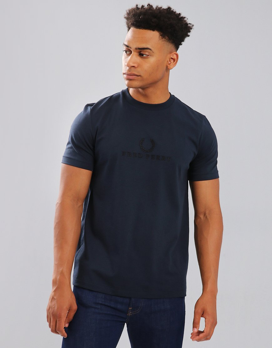 Fred Perry Embroidered T-Shirt Washed Navy