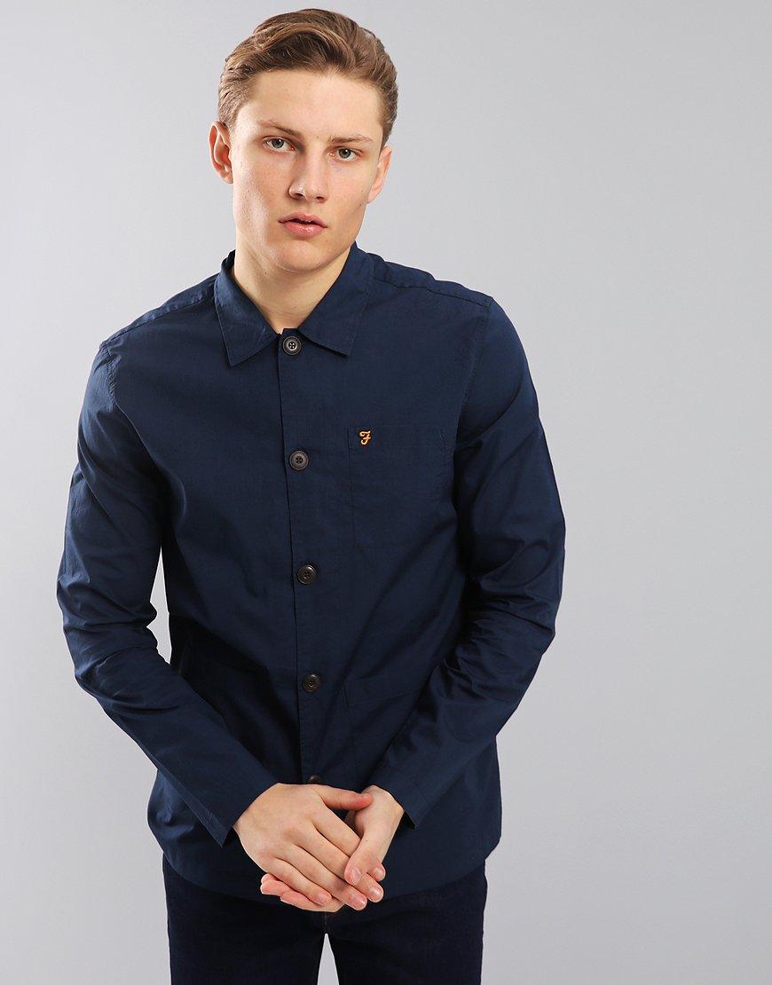 Farah Albyns Overshirt Yale Blue - Terraces Menswear 501fab56f906