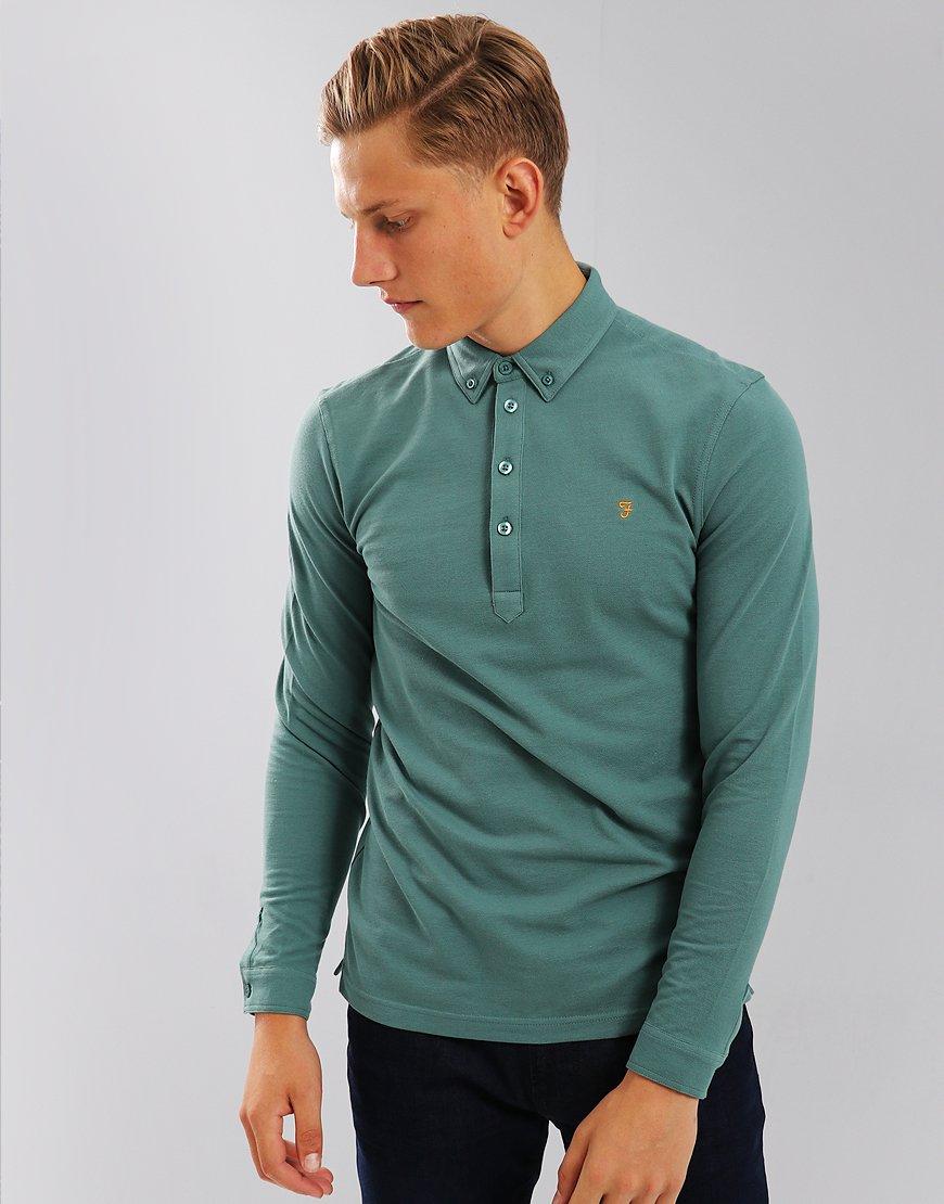 Farah Merriweather Long Sleeve Polo Shirt Sea Green