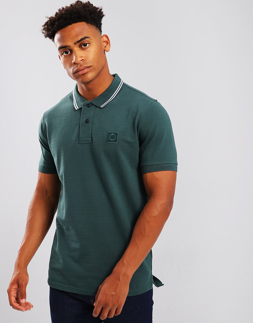 MA.Strum Tipped Pique Polo Shirt Petrol