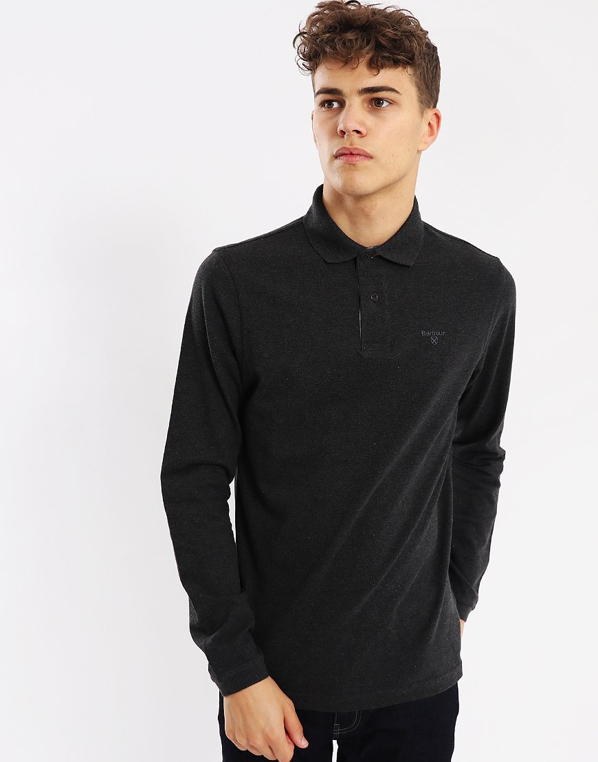 Barbour Long Sleeved Sports Polo Shirt Charcoal