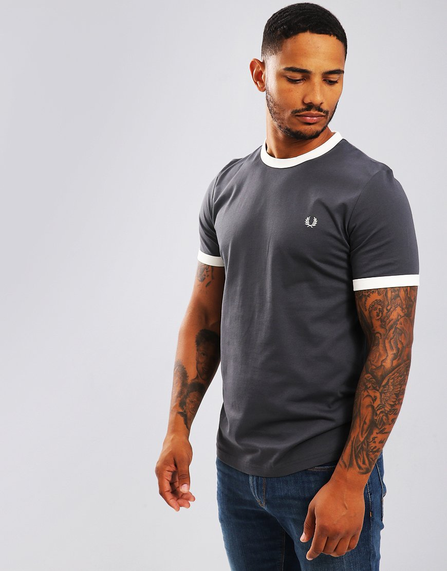 Fred Perry Ringer T-Shirt Charcoal