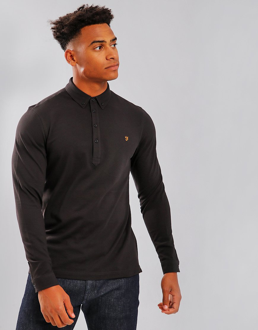 711015a5 Farah Merriweather Long Sleeved Polo Shirt Black