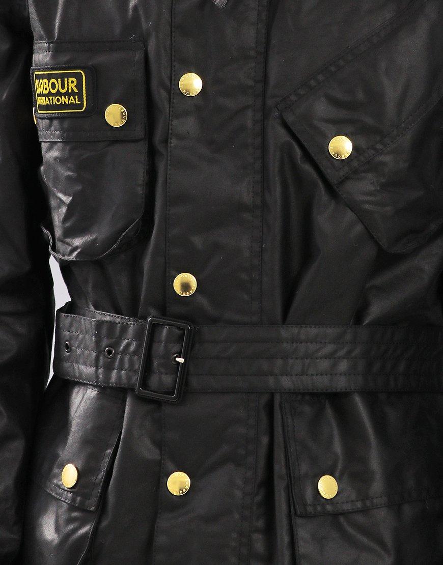 Barbour International Union Jack Waxed Jacket Black