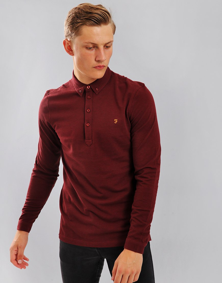 Farah Merriweather Long Sleeved Polo Shirt Red Marl