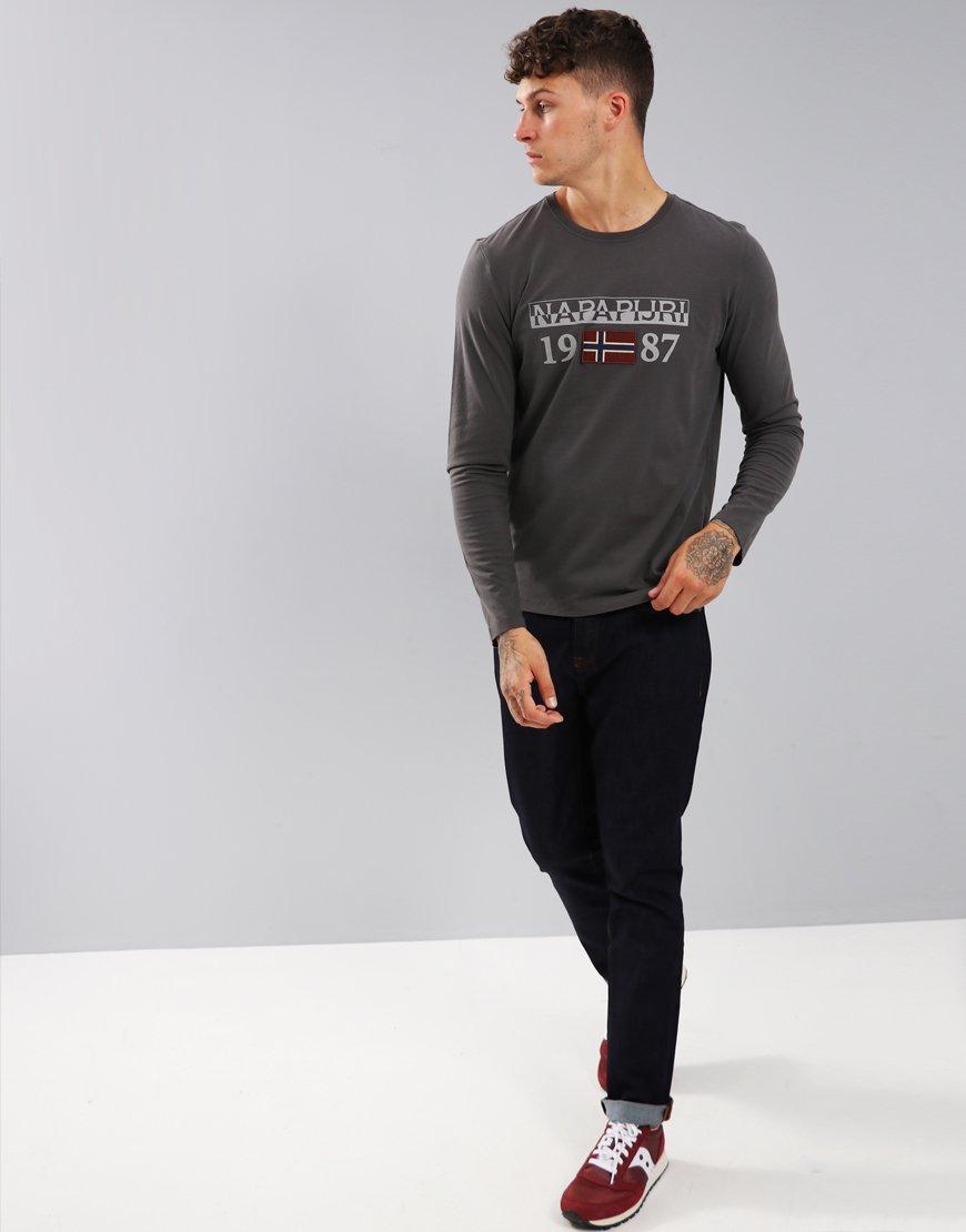 Napapijri Solin Long Sleeve T-Shirt Dark Grey Solid