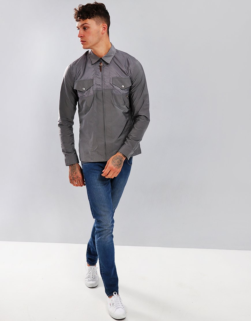 b6067803fd3 Pretty Green Robinia Iridescent Overshirt Metal Grey - Terraces Menswear