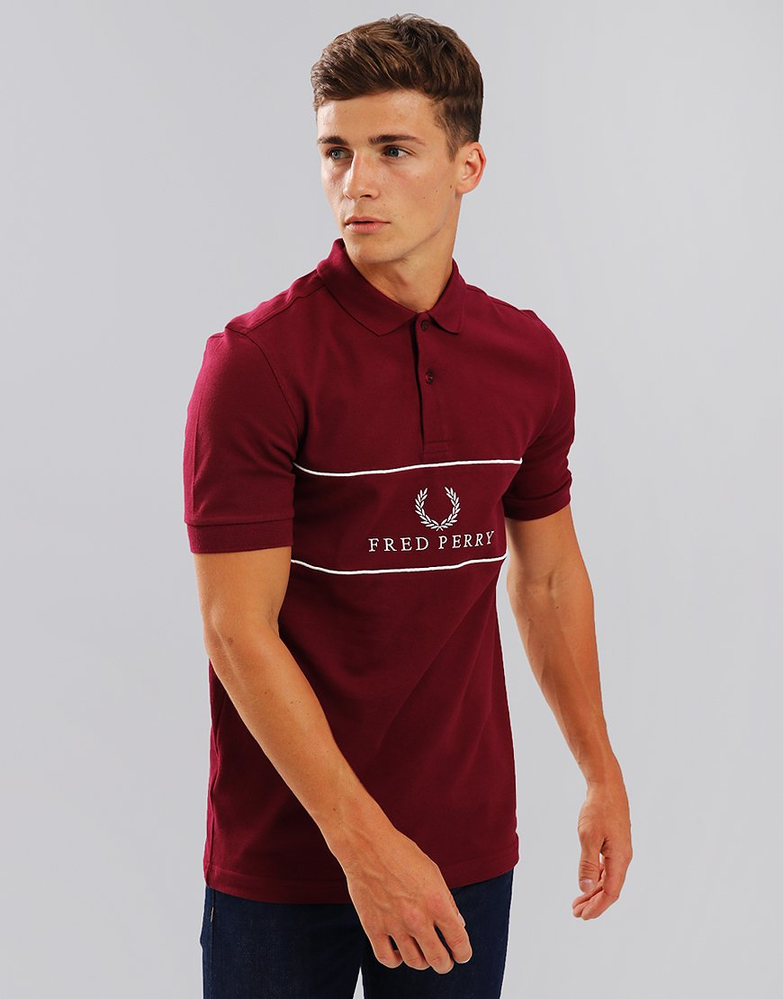 Fred Perry Panel Piped Piqué Polo Shirt Tawney Port