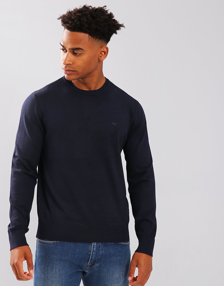 Emporio Armani Cotton Crew Knit Navy