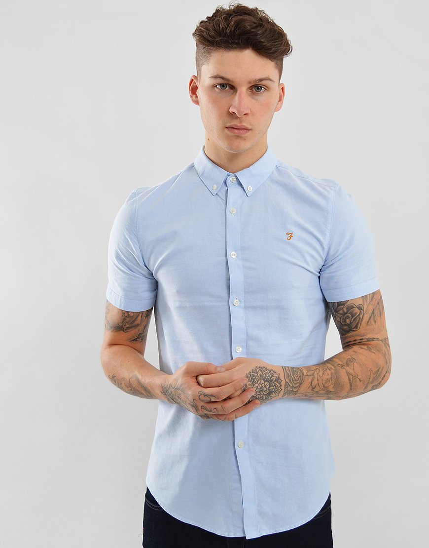 Farah Short Sleeved Brewer Slim Fit Shirt Sky Blue