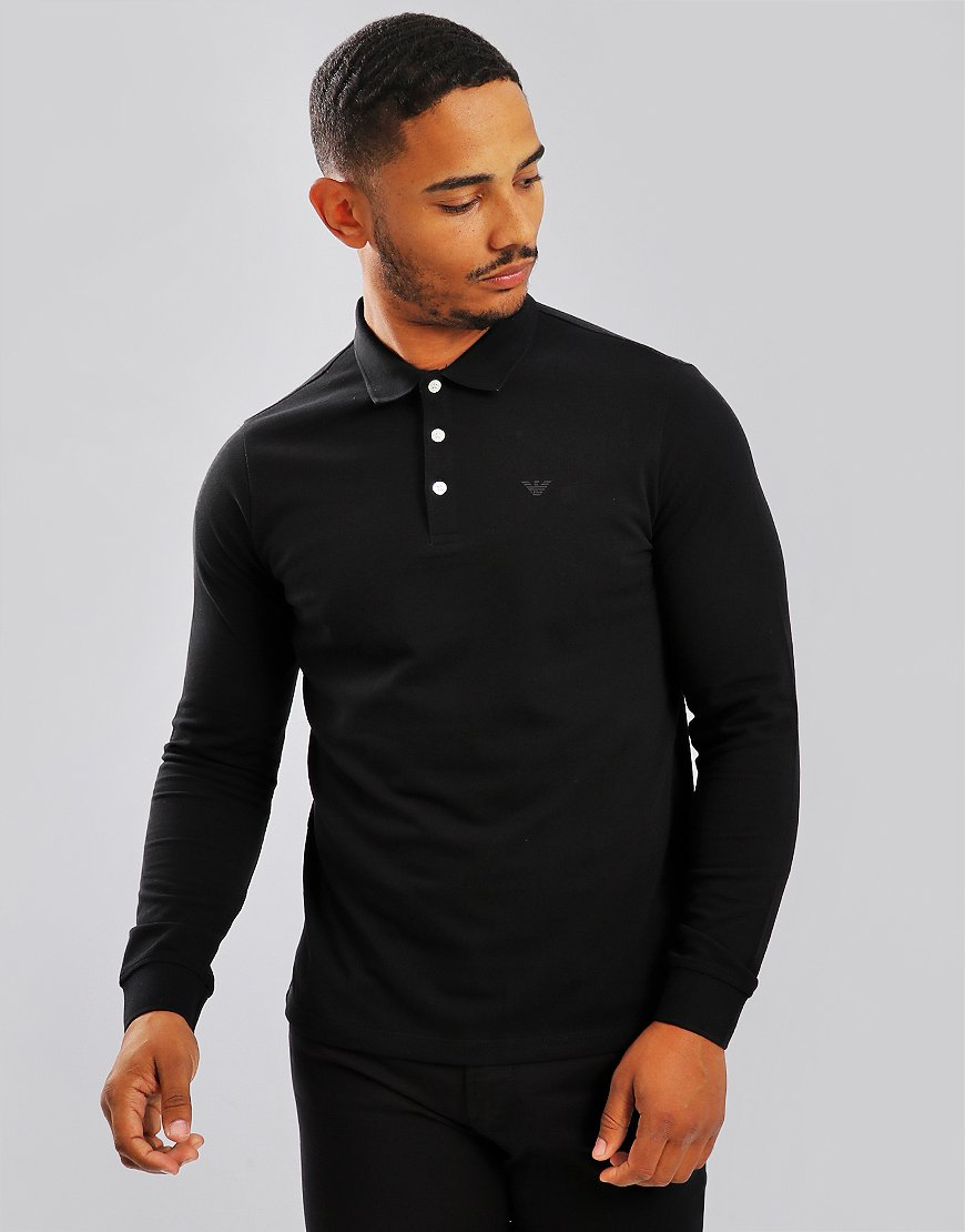 Emporio Armani Long Sleeve Polo Shirt Black