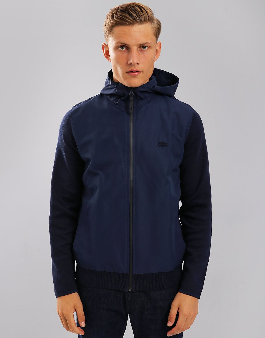 Lacoste Motion Hooded Zippered Jersey Sweat Navy