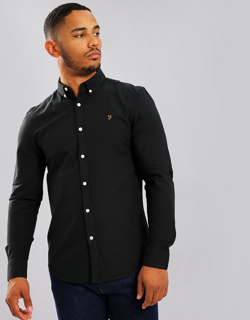 Farah Brewer Long Sleeve Shirt Black Ink