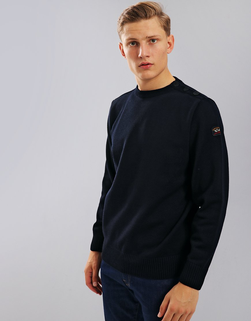 Paul & Shark Button Vent Crew Neck Jumper Blue