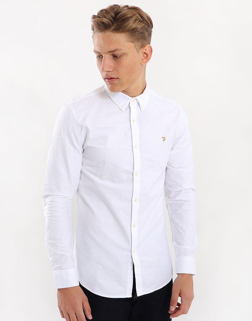 Farah Brewer Long Sleeve Slim Fit Shirt White