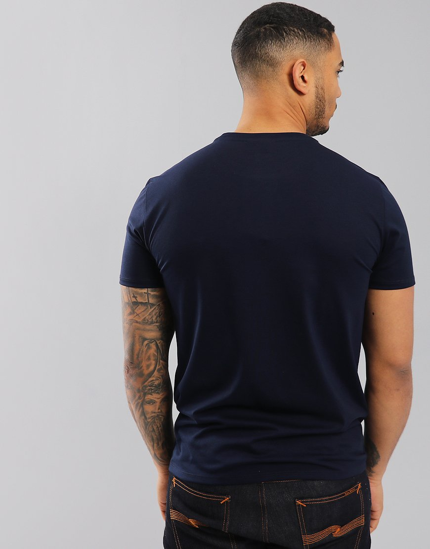 25d84766 Lacoste Pima Cotton Logo T-Shirt In Navy - Terraces Menswear