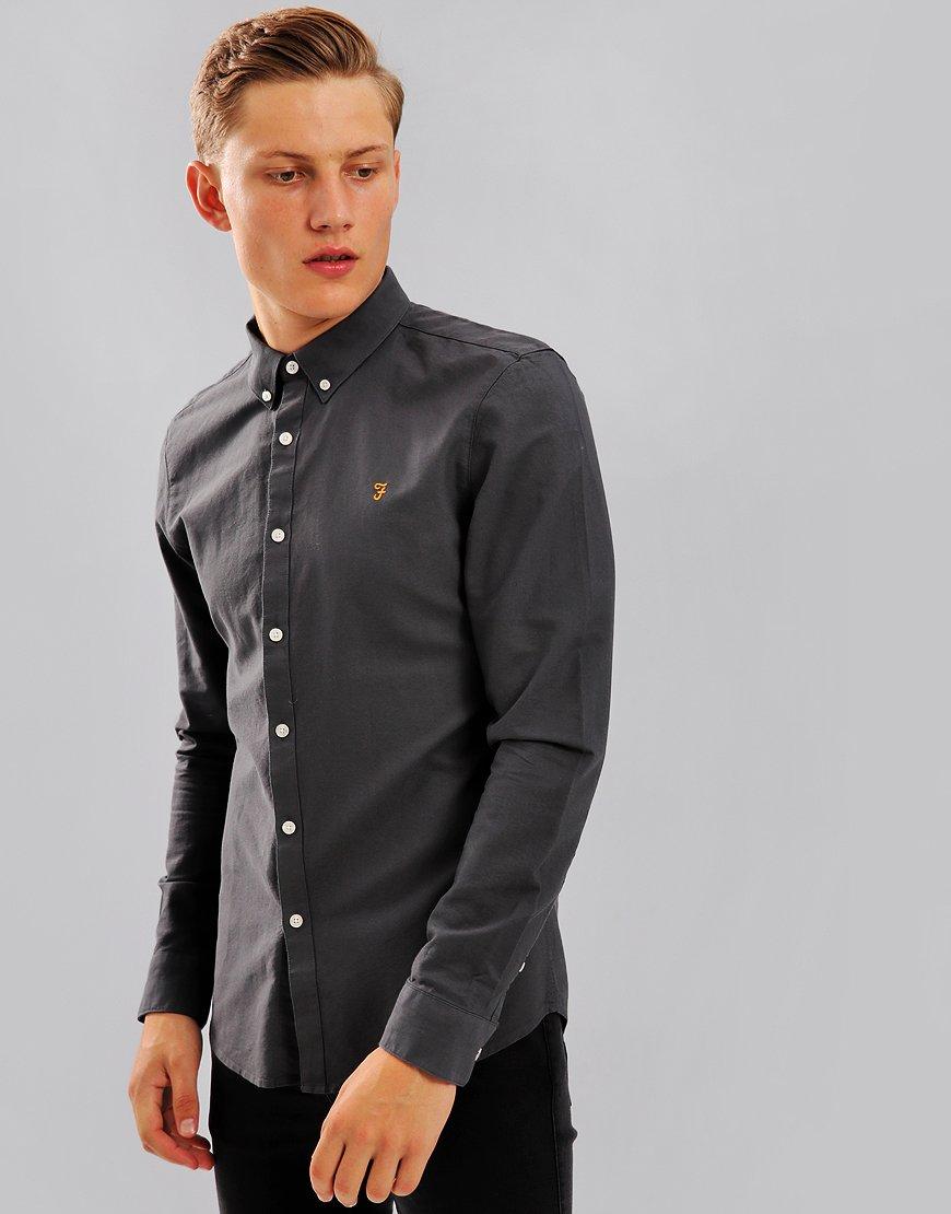 Farah Brewer Long Sleeve Shirt Asphalt
