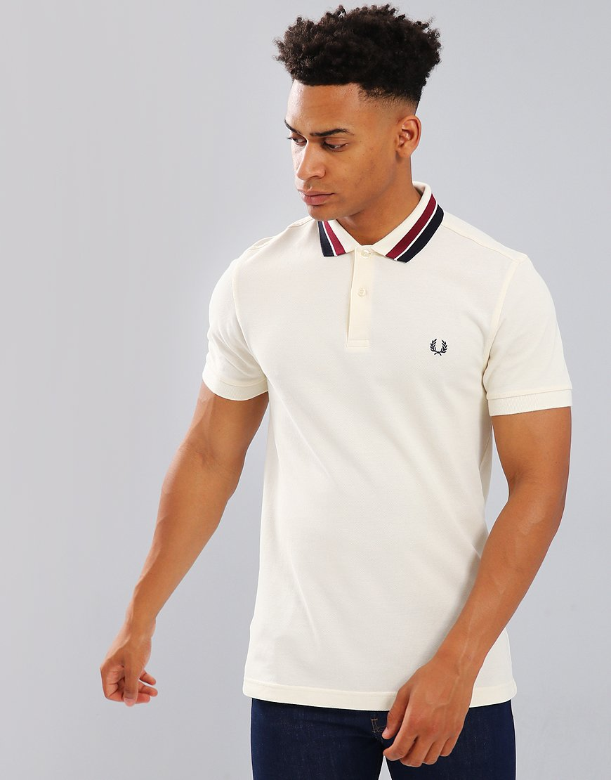 Fred Perry Bold Tipped Piqué Polo Shirt Ecru