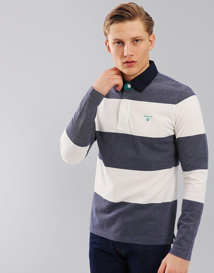 Gant 3-Colour Oxford Stripe Rugger Polo Shirt Persian Blue