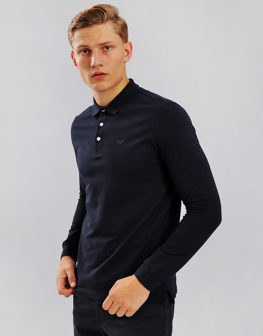 Emporio Armani Long Sleeve Polo Shirt  Dark Blue