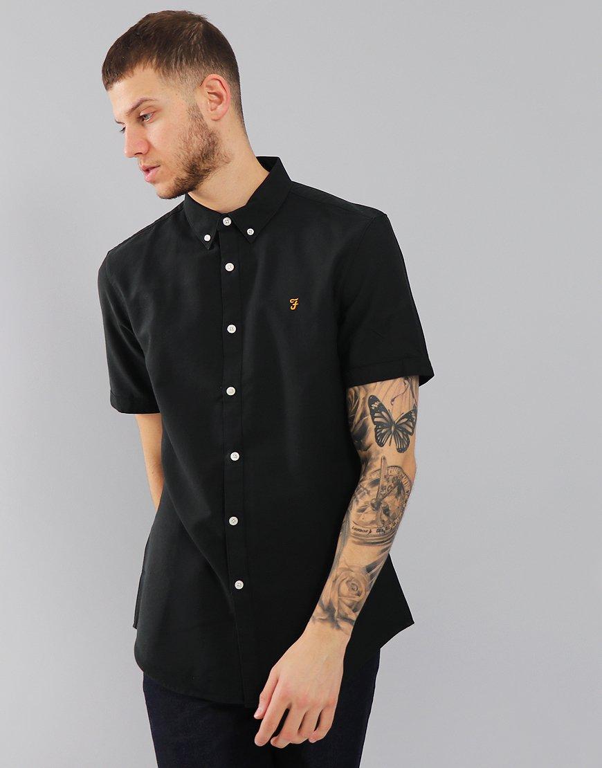 Farah Short Sleeved Brewer Slim Fit Shirt Black Ink