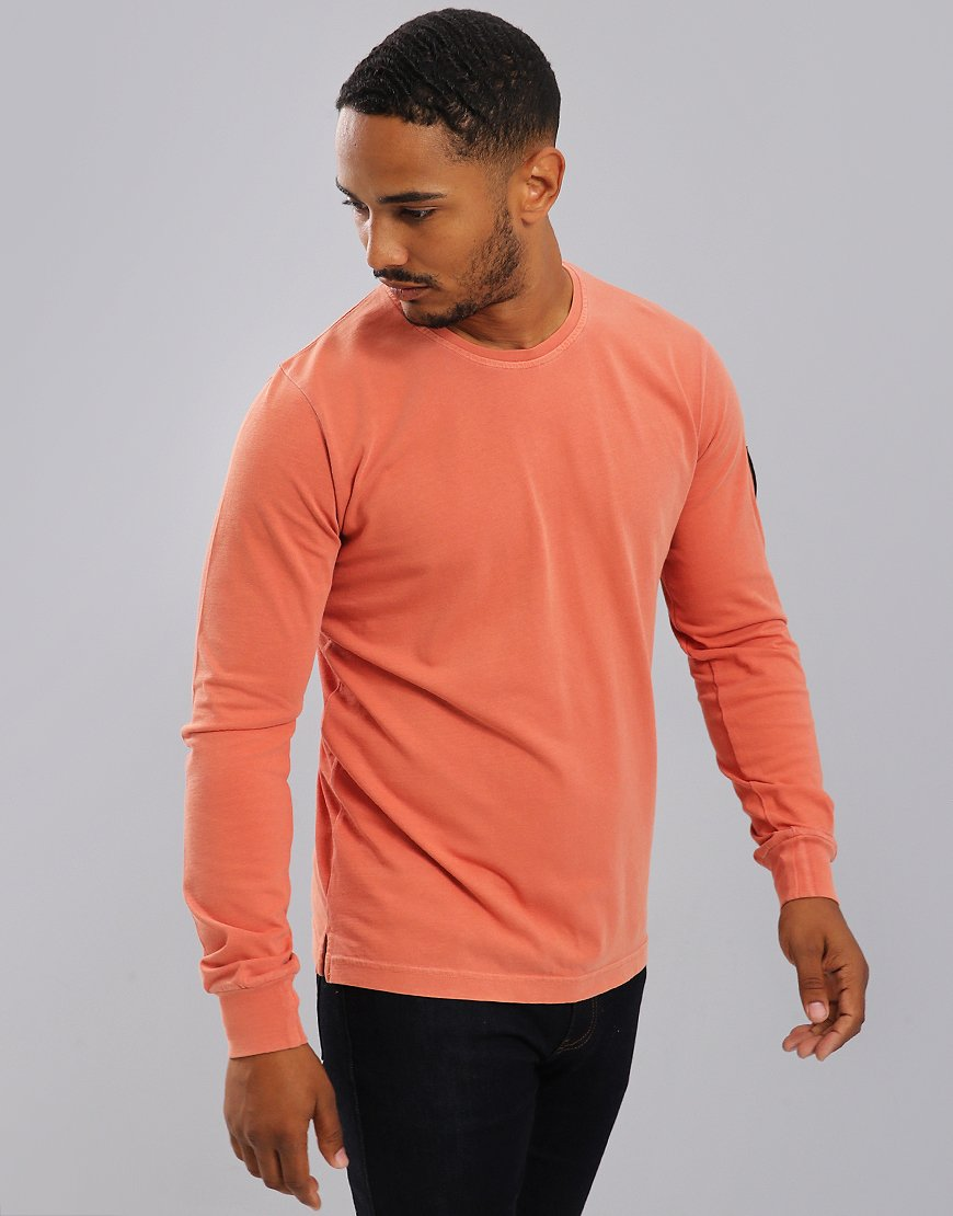Marshall Artist Long Sleeve Garment Dyed T-Shirt Orange