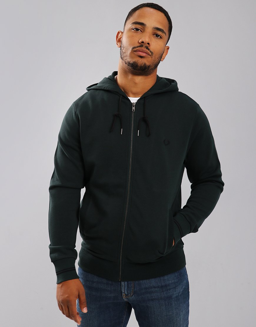 Fred Perry Hooded Loopback Sweat Dark Emerald