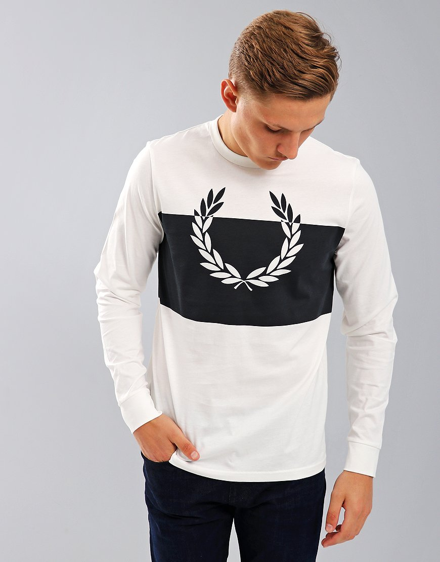 Fred Perry Long Sleeve Block Laurel Wreath T-Shirt Snow White