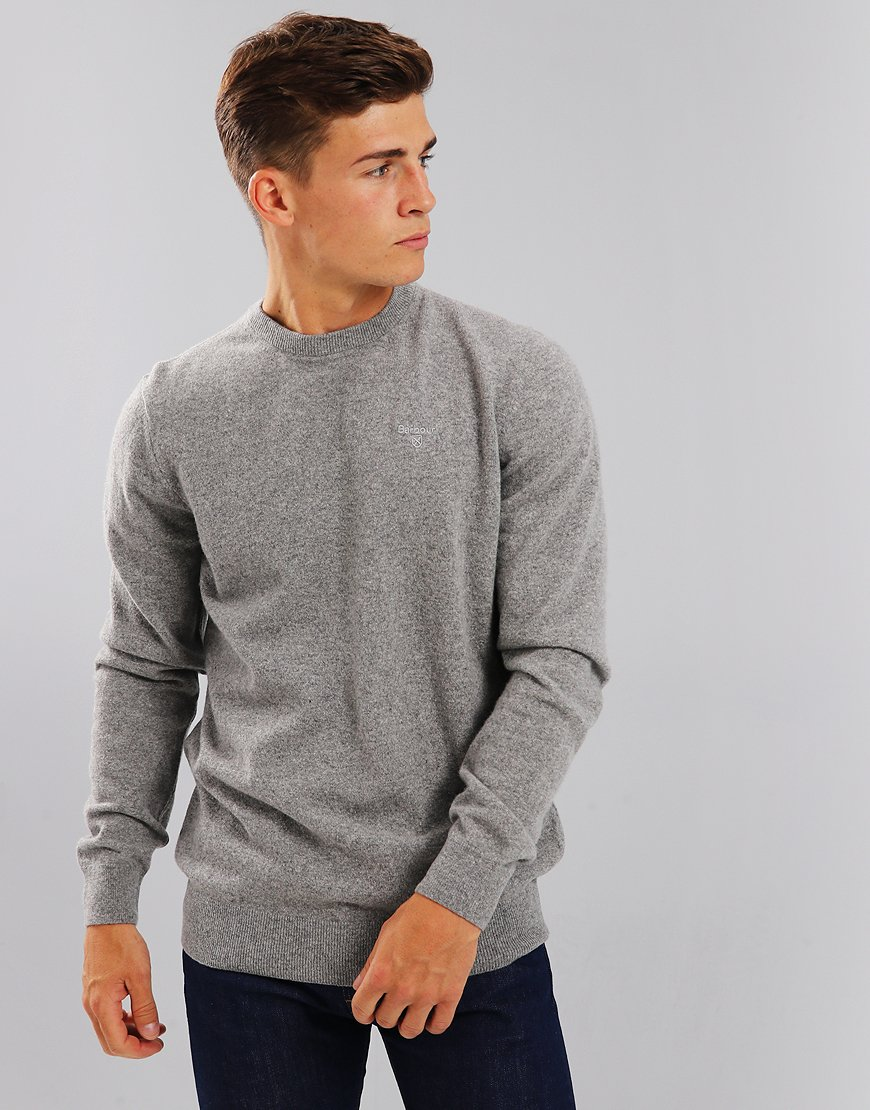 Barbour Essential Lambswool Crew Neck Knit Grey