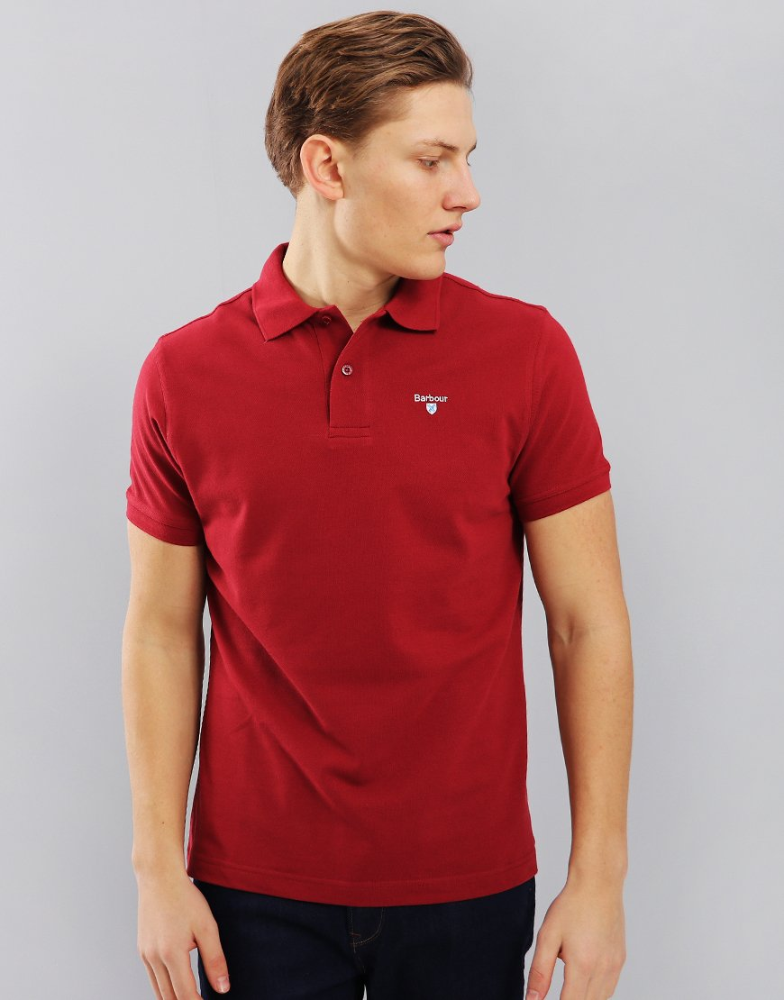 Barbour Sports Polo Shirt Biking Red