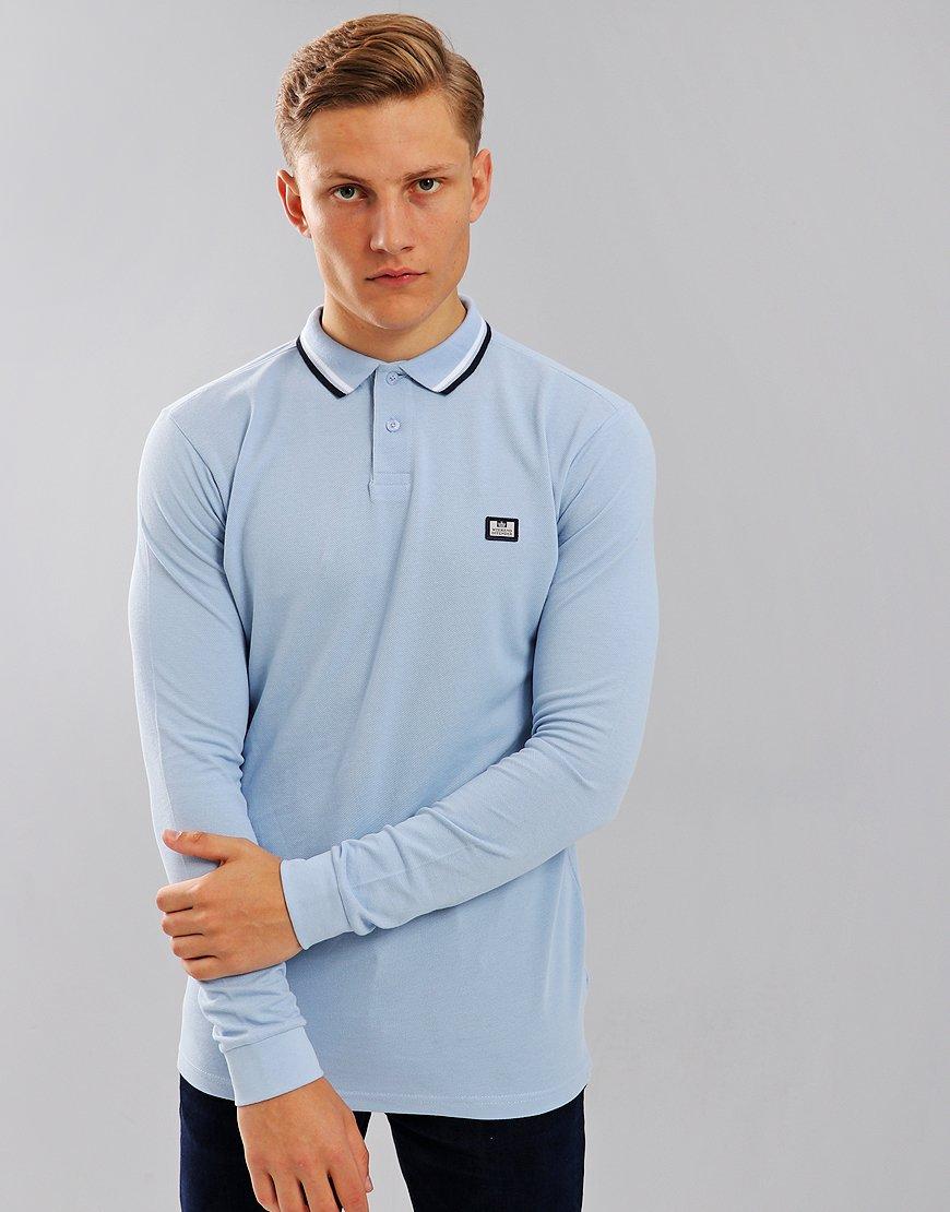 Weekend Offender Ibanez Long Sleeve Polo Shirt Sky