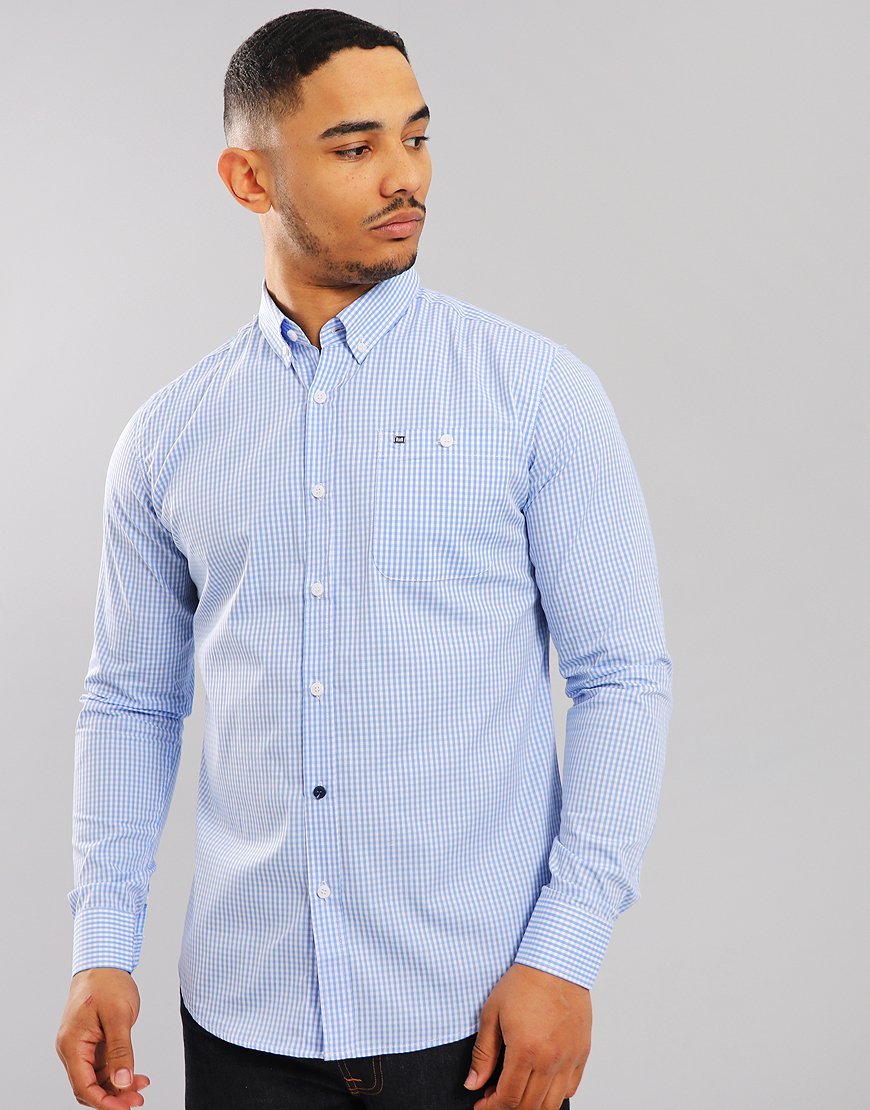 Weekend Offender Poe Check Shirt Sky/White