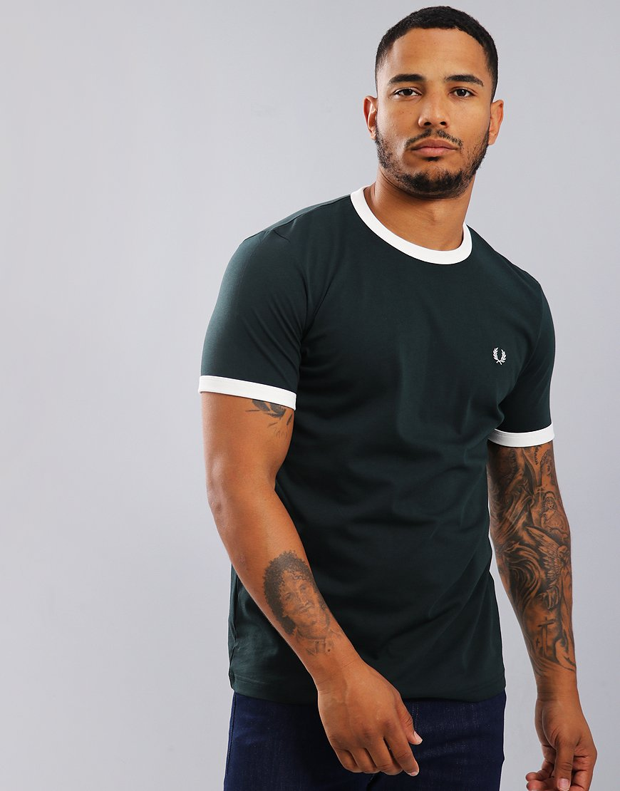 Fred Perry Ringer T-Shirt Dark Emerald