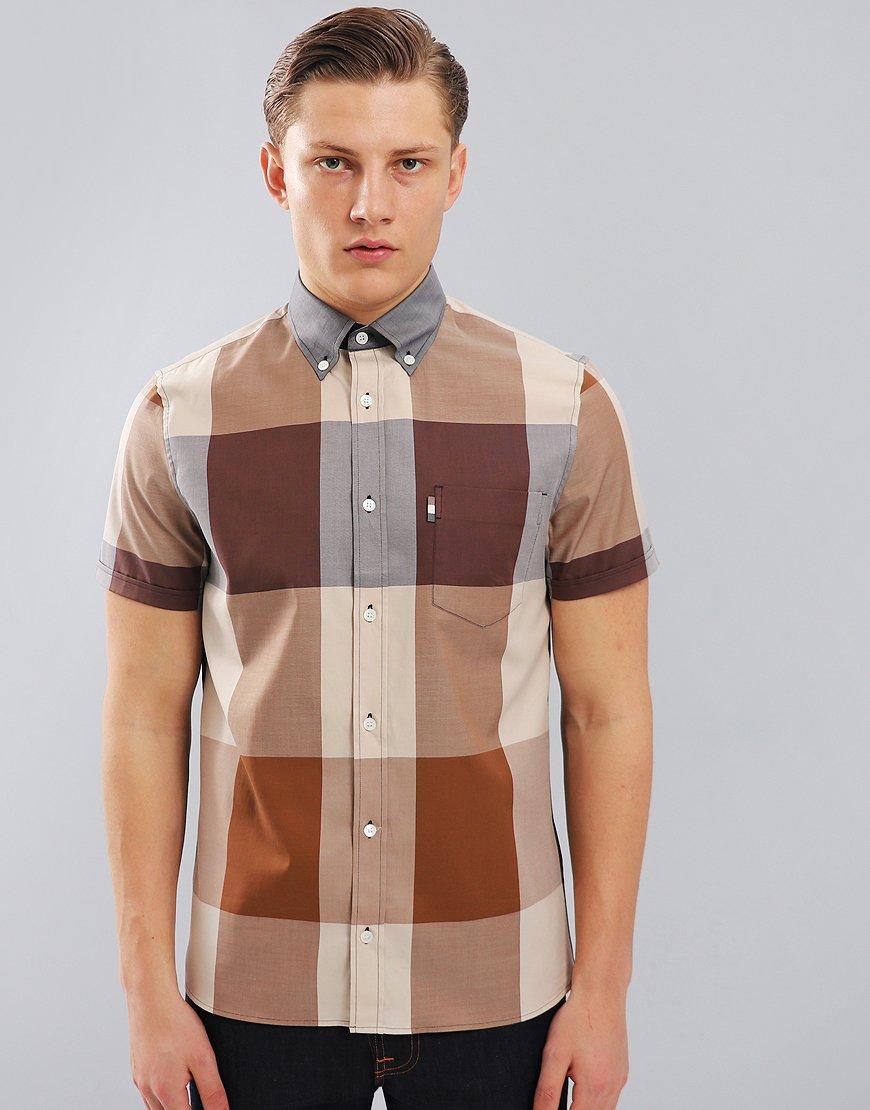 Aquascutum Henlake Club Check Short Sleeved Shirt in Vicuna