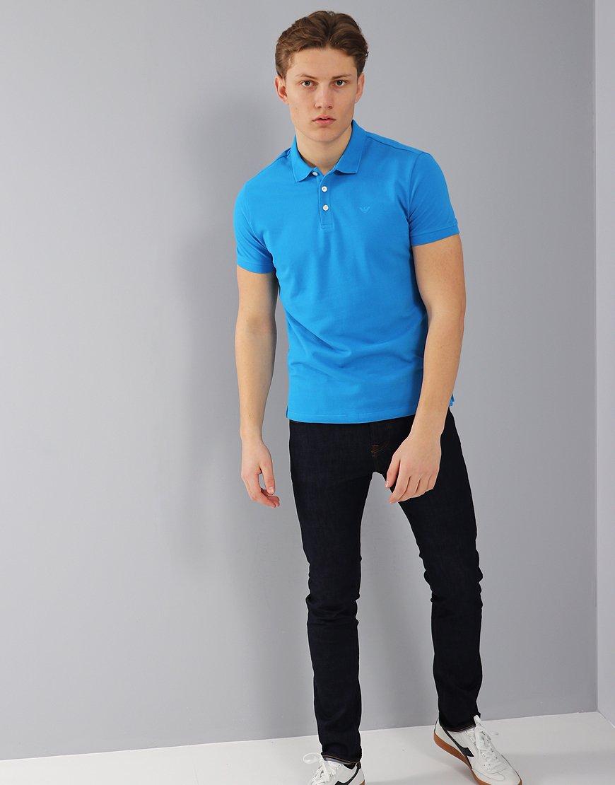 Emporio Armani Short Sleeve Polo Shirt Turquoise