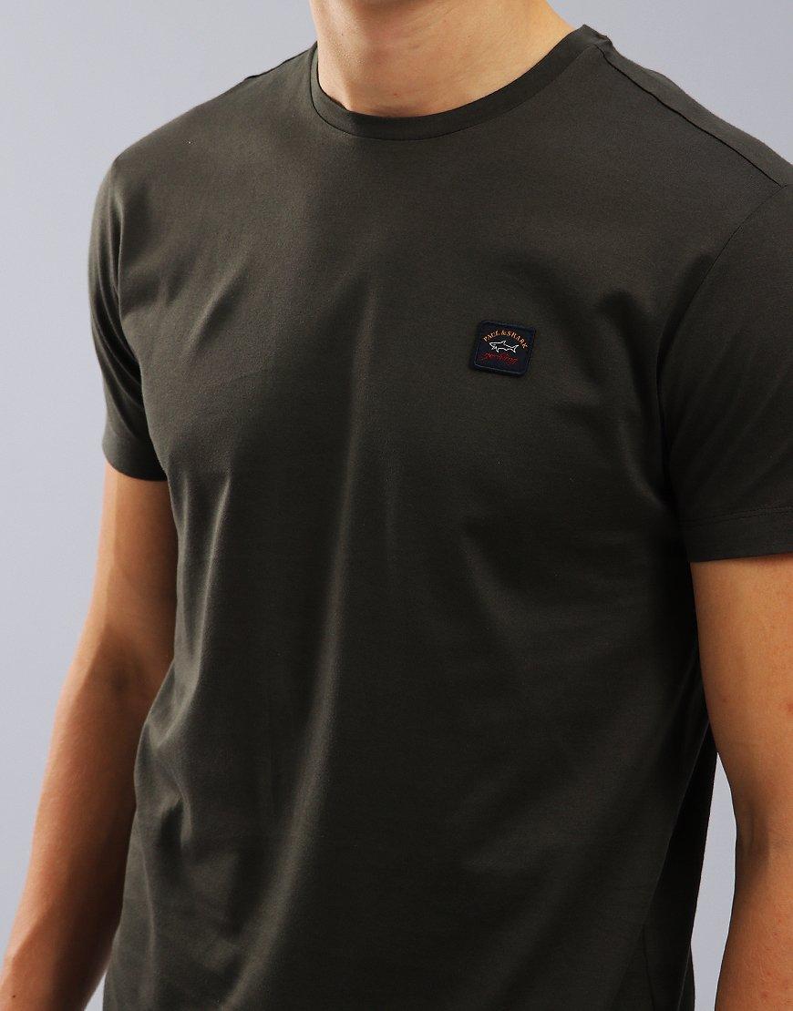 Paul & Shark Logo Patch Crew T-Shirt Military Green