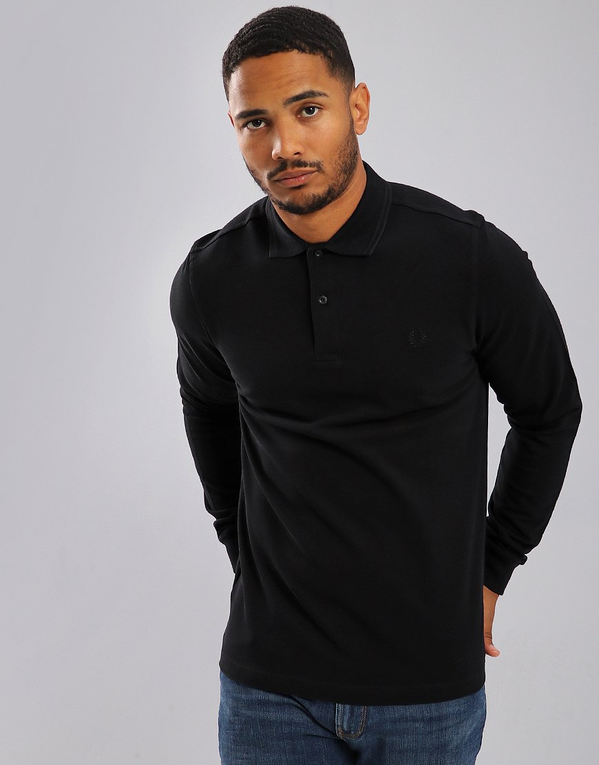 Fred Perry Twin Tipped Long Sleeved Polo Shirt Black/Black