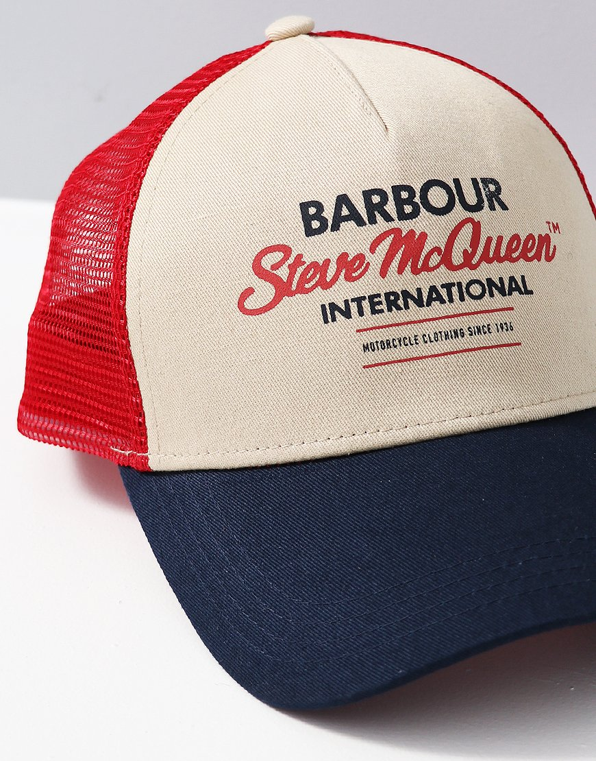 Barbour Steve McQueen Trucker Cap Navy - Terraces Menswear 43ae01e4c9e0