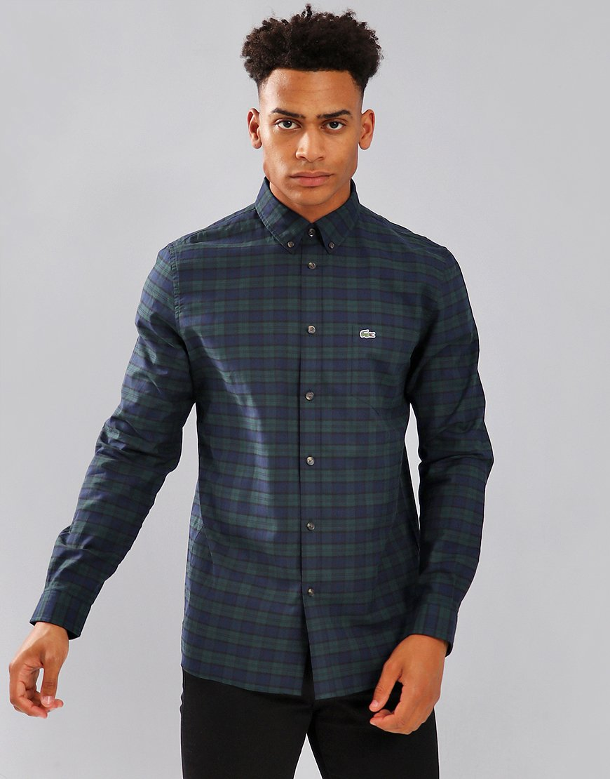 Lacoste Woven Check Shirt Sinople/Meridian