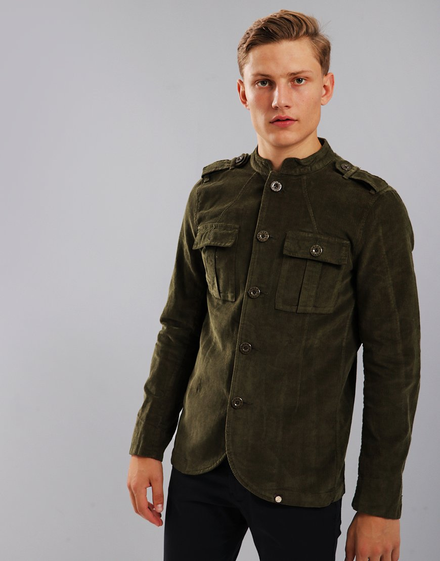 2507770b4b5 Pretty Green Crawley Military Corduroy Jacket Khaki - Terraces Menswear