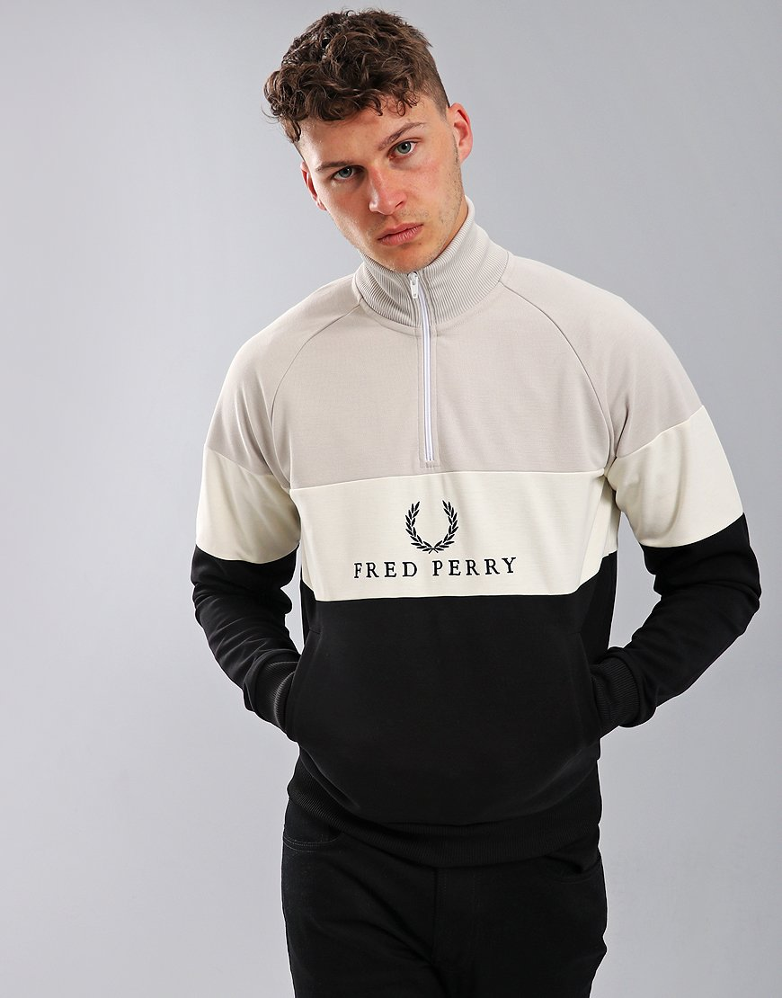 Fred Perry Embroidered Panel Zip Neck Sweatshirt Black