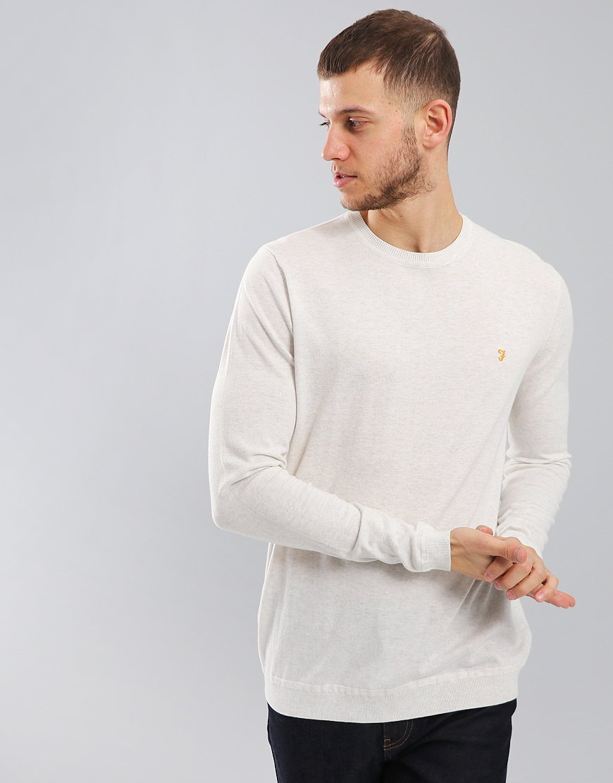 Farah Stephens Crew Neck Knit Chalk Marl