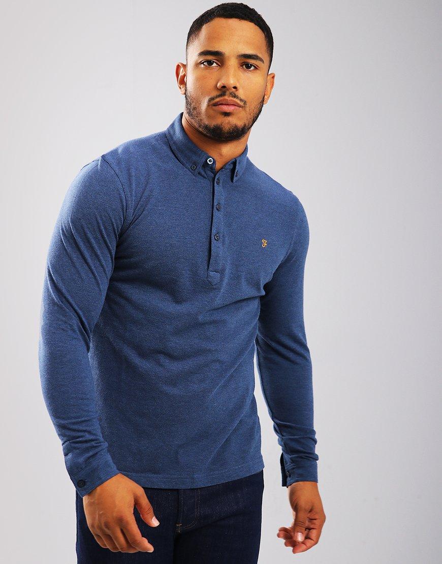 Farah Merriweather Long Sleeved Polo Shirt Bobby Blue